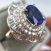 Platinum Diamond And Sapphire Triple Row Cluster Ring 22