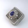 Platinum Diamond And Sapphire Triple Row Cluster Ring 6