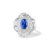 Platinum Diamond And Sapphire Triple Row Cluster Ring 0