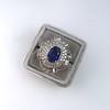 Platinum Diamond And Sapphire Triple Row Cluster Ring 17