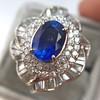 Platinum Diamond And Sapphire Triple Row Cluster Ring 21