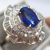 Platinum Diamond And Sapphire Triple Row Cluster Ring 7