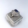 Platinum Diamond And Sapphire Triple Row Cluster Ring 18
