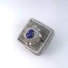 Platinum Diamond And Sapphire Triple Row Cluster Ring 11