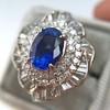 Platinum Diamond And Sapphire Triple Row Cluster Ring 8