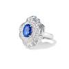 Platinum Diamond And Sapphire Triple Row Cluster Ring 1