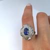 Platinum Diamond And Sapphire Triple Row Cluster Ring 28