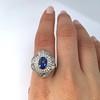 Platinum Diamond And Sapphire Triple Row Cluster Ring 29