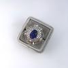 Platinum Diamond And Sapphire Triple Row Cluster Ring 16
