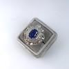 Platinum Diamond And Sapphire Triple Row Cluster Ring 14