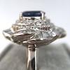 Platinum Diamond And Sapphire Triple Row Cluster Ring 26