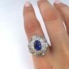 Platinum Diamond And Sapphire Triple Row Cluster Ring 27