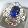 Platinum Diamond And Sapphire Triple Row Cluster Ring 20
