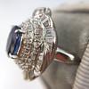 Platinum Diamond And Sapphire Triple Row Cluster Ring 19