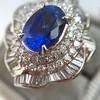 Platinum Diamond And Sapphire Triple Row Cluster Ring 15
