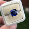 3.95ct Sapphire and Diamond 3-Stone Ring 19