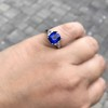 3.95ct Sapphire and Diamond 3-Stone Ring 25