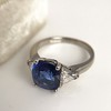3.95ct Sapphire and Diamond 3-Stone Ring 2