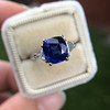 3.95ct Sapphire and Diamond 3-Stone Ring 17