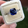 3.95ct Sapphire and Diamond 3-Stone Ring 18