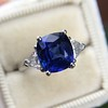 3.95ct Sapphire and Diamond 3-Stone Ring 0