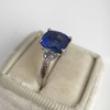 3.95ct Sapphire and Diamond 3-Stone Ring 9