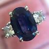 2.65ct (est) Sapphire and Diamond 3-Stone Ring 6