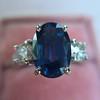 2.65ct (est) Sapphire and Diamond 3-Stone Ring 3
