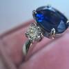2.65ct (est) Sapphire and Diamond 3-Stone Ring 2