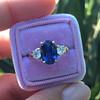 2.65ct (est) Sapphire and Diamond 3-Stone Ring 1