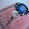 2.65ct (est) Sapphire and Diamond 3-Stone Ring 9