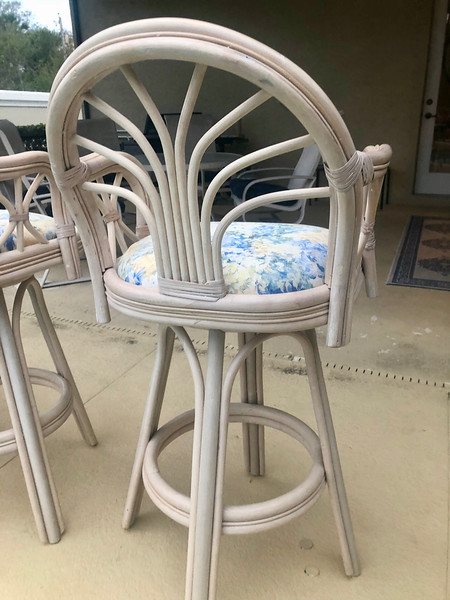 Cane Cushioned Swivel Barstool