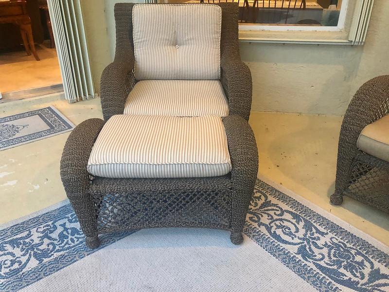 Rattan Patio Chair & Ottoman