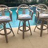 Cane Cushioned Swivel Barstools