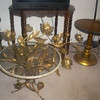 Glass Italian Table with lighted wall lamp/lights