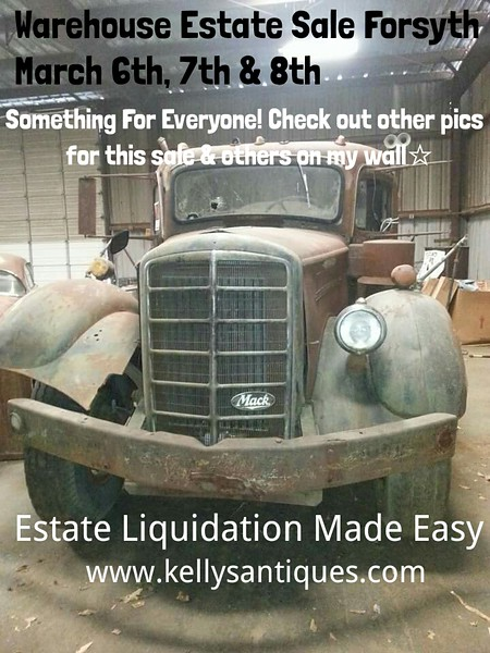 Living Estate Warehouse Liquidation Sale 133 Harold G. Clark Parkway or 133 Hwy 18 East Forsyth Ga March 6th, 7th & 8th 9:00-4:00 Each Day Forsyth, Ga