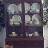 gorgeous antique mahogany Hepplewhite china cabinet with Haviland china