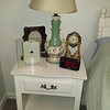 green vintage lamp 30.00 White end table 50.00