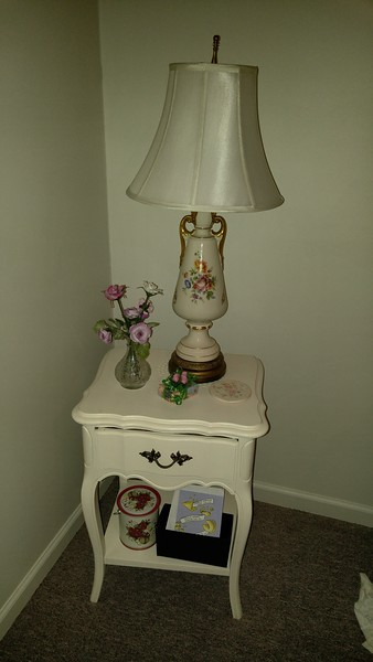 White french provencial 1 drawer table 50.00 Pair of Rose lamps 50.00