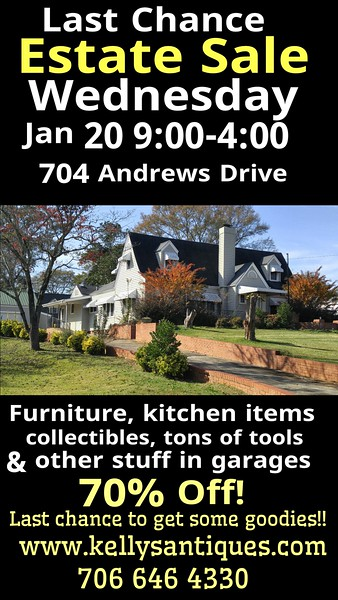 Wednesday Jan 20th Estate Sale What's Left