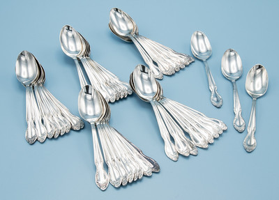 "ROGERS BROTHERS - SILVER PLATE - ""SILVERY MIST"" DEMI-TASSE SPOONS -           43 PIECES - 4 7/16"" L"