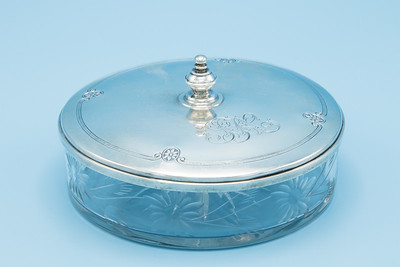 "- SILVER PLATE - CRYSTAL CANDY DISH WITH SILVER LID - 4 1/2"" W X 2 1/4"" H"