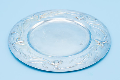 "GILBERT MARKS  - STERLING - ART NOUVEAU SALVER, SIGNED AND DATED 1899 - 8 5/8"" Dia.  300g"