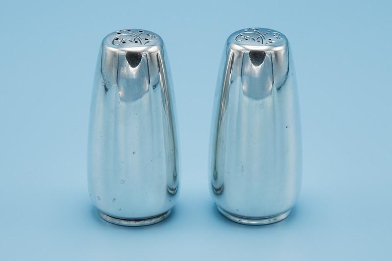 """GORHAM - STERLING - CELESTE SALT & PEPPER SET - 1 1/4"""" W X 3 1/8"""" H"""