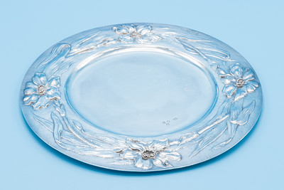 """GILBERT MARKS  - STERLING - ART NOUVEAU SALVER, SIGNED AND DATED 1899 - 8 5/8"""" Dia.  300g"""