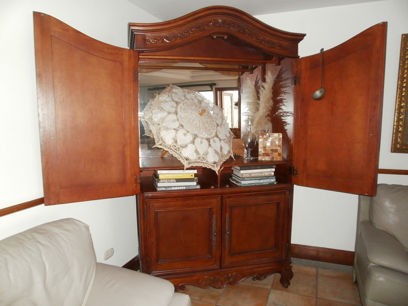"""LARGE beautiful wood ENTERTAINMENT CENTER•ARMOIR, mirrored in back.  24""""-deep x 80""""-tall x 48""""-wide<br /> $3,500 (not in a rush to sell)"""