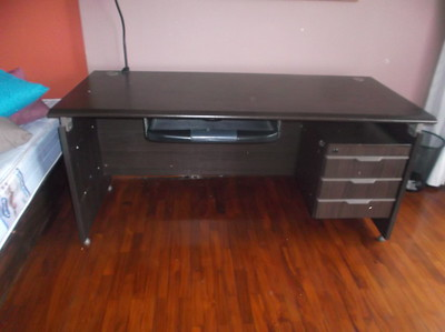 """Brown DESK with Keyboard pullout with 4 thin drawers PLUS it has 2 areas you can put your cords & cables down for better organization!   Good condition.    SIZE:  63"""" wide x 27-1/2"""" deep  $200 or best offer."""