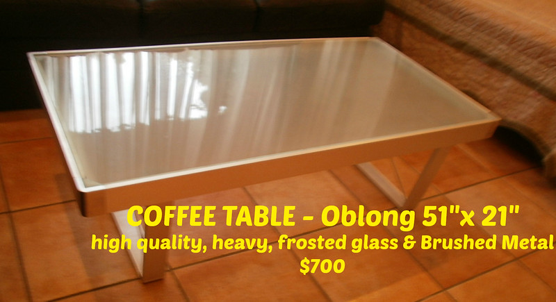 "COFFEE TABLE - Oblong 51""x 21""  =  $400"
