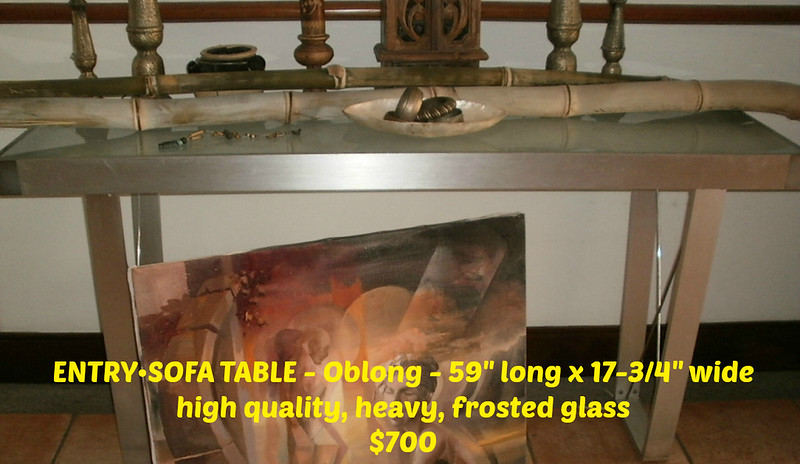 "5 piece Brushed metal (silver color) & frosted glass tables - HIGH quality & VERY heavy (most will probably take 2+ guys to carry).  Can sell separately<br /> •  ENTRY•SOFA TABLE - 59"" long x 17-3/4"" wide  =  $700<br /> •  DINING TABLE with curved edges -  63"" wide x 36"" deep  =  $1,800<br /> •  LARGE DINING TABLE - 95"" x 47-1/4"" with 8 black faux leather chairs (the bottoms can come off & there's a nice fabric underneath the bottom) -  $3,000 (this will easily take 4 guys to carry it).  $2,500 with OUT the chairs<br /> •  2 different size COFFEE TABLES - Oblong 51""x 21. Square -  31-1/2"" x 31-1/2""  =  $400/each <br /> .  All 5 for $5,000 - or best offer"