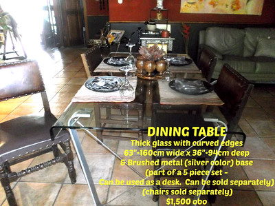 "DINING TABLE with CURVED EDGES -  63""•160cm wide x 36""•91cm deep  =  $1,500"